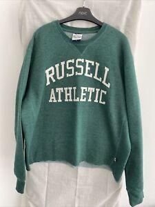 RUSSELL ATHLETIC Green Fray Hem Sweatshirt Size XL