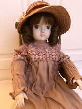 Vintage 1970's Sankyo Porcelain Doll - Brown Curly Hair Hat & Chair