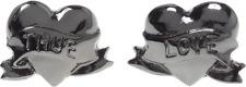 60143 True Love Hearts Stud Earrings Sourpuss Jewelry Gun Metal Pinup Romantic