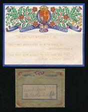 GB 1942 GREETINGS TELEGRAM + ORIGINAL ENVELOPE...L1
