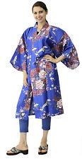 Kimono Ethnic Jacket Floral Cranes Blue #921 Happi Coat Novelty Gift Halloween