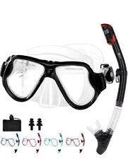 New listing JARDIN Dry Snorkel Set,Panoramic Wide View Snorkel,Anti-FogTempered Glass,BLACK