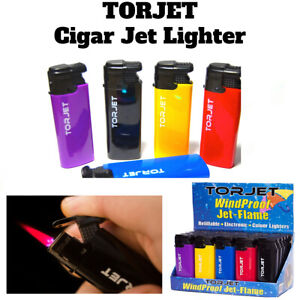 4 x TORJET CIGAR WINDPROOF TURBO JET FLAME ELECTRONIC LIGHTER (Refillable)