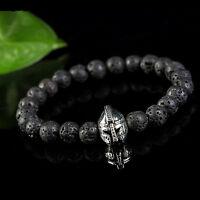 Men's Black Lava Rock Stone Bead Silver Helmet Beads Charm Bracelet 8mm Jewelry