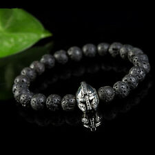 Fashion Men's Natural Black Lava Rock Stone Silver Helmet Bead Charm Bracelet