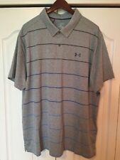 â›³New Under Armour HeatGear Men's 2Xl Golf/Polo Shirt-Gray Stripe -Jordan Spieth