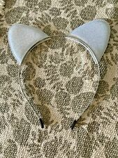 1 Pcs Girls Metallic Silver Multi-Glitter Soft Cat Ear Hair Headband Costume