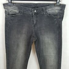 Benetton Womens Jeans Grey W32 Cotton Slim Fit Stretch Faded Design