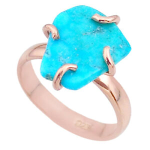 5.57cts Solitaire Fine Blue Turquoise 925 Silver Rose Gold Ring Size 7 T36835
