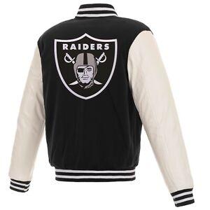 NFL Los Angeles Raiders Reversible Fleece Jacket PVC Sleeves Embroidered Logos