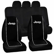 Jeep Logo Black High Back Seat Covers Racing UAA Universal Fit Bench Seat Cover