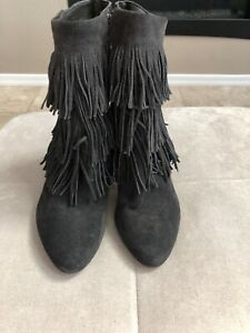 Via Spiga Dark Gray Cowboy Ankle Boots US 5.5 EU 35.5 Suede