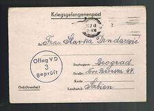 1941 Offenburg Germany Prisoner of War POW Camp Letter Cover Oflag 5D Yugoslavia