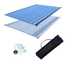 RV Patio Mat Motorhome Awning Mat Outdoor Ocean Blue Reversible Mat 9x18 w/ Bag