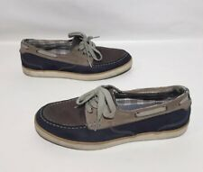 Clarks Slip On Casual Boat Shoes Mens Blue/tan/brown Leather Size 9.5 M