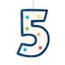 Amscan Blue Glitter Number Candle White Premium Birthday Cake Candle Party 1 2 5