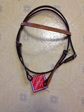 REINSMAN LEATHER WESTERN BROWBAND HORSE HEADSTALL BRIDLE  LIGHT COLOR!