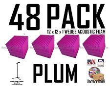 48 pack PLUM  Acoustic Wedge Studio Soundproofing Foam Wall Tiles 12x12x1