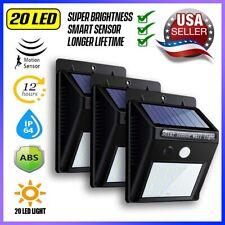 3X Outdoor 20 LED Solar Wall Lights Power Motion Sensor Garden Yard Path Lamp