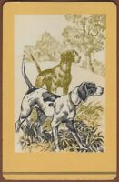 Playing Cards 1 Single Card Old Vintage POINTER GUNDOGS Dogs Dog Art Picture 2
