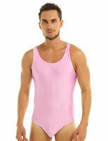 Sissy Mens One Piece Bodysuit Thong Leotard Pouch Underwear Satin Bikini Singlet