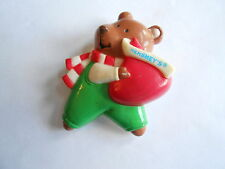 Vintage Winter Scarf Clad Bear Holding a Hershey's Candy Kiss Pinback Brooch Pin