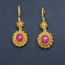 22k Yellow Gold Ruby Dangling Earrings