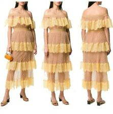 Women Yellow Lace Long Dress Holiday Pleated Off Shoulder Sexy Polka Dot Beach L
