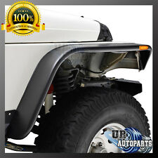Black Flat Front+Rear Fender Flares With LED Light for 97-06 Jeep TJ/LJ Wrangler