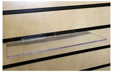 Clear Acrylic Slatwall Shelves 12 Inches Wide x 8 Inches Deep Set of 2 for Retail Display or Home Use