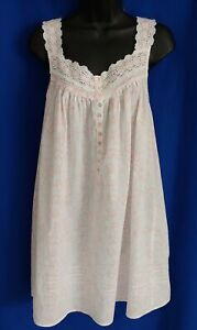Eileen West Pastel Orange Floral Cotton Nightgown w/White Lace - Medium