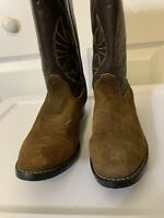 ACME Boys size 5.5 Brown Suede Leather Western Cowboy Boots
