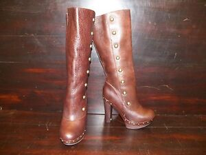 New Womens UGG Cosima Tall Chocolate Leather Studded High Heel Boots