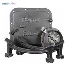 Barrel Stove Kit Steel Drum Wood Heater Cast Iron Legs Door Flue Collar Damper