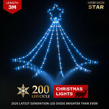 Waterfall Star Christmas Lights LED 200pc Blue and Cool White Flashing 5m Cable