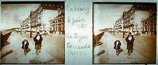 Plaque stéréoscopique photographie Calvados Cabourg la digue - juin 1927 plage