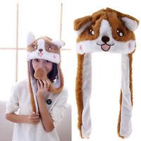 Cute Plush Animal Corgi Dog Ear Hat Jumping Performance Cap Holiday Toys