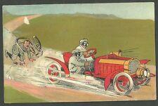 Pre 1910 Unused Postcard Car Racing Down The Road Running Over Biker Serie 1650