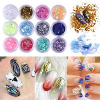12Colors Ice Mylar Shell Foil Paper Glitter Acrylic Manicure Nail Art Decoration