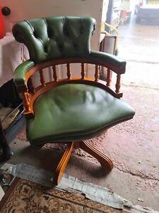 Chesterfield Captains Desk Chair Antique Green