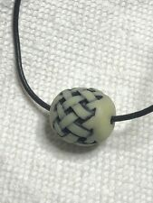 """Neil Eyre Eyredesigns Glow Dark 3d Barrel Bead Leather cord 24"""" Necklace 🇺🇸"""