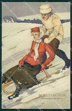 Winter Couple Dondorf serie 374 postcard cartolina QT6245