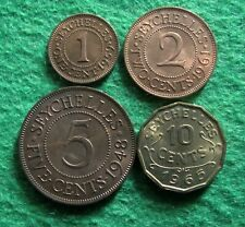 New listing Seychelles - Four Different Uncirculated Coins - Free U S Shipping