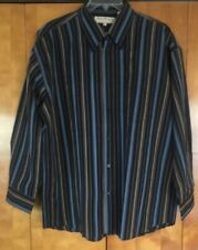 Mens Norm Thompson Button-Down Shirt Size XL Blue & Tan Striped Long Sleeve VGC