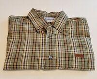 Carhartt Shirt Mens L-Tall Button Down Short Sleeve Green Plaid Relaxed  B16-21