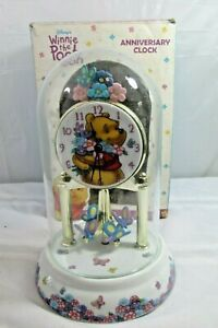 Disney Winnie The Pooh Anniversary Clock Glass Dome Porcelain Base Dial New