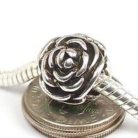 Rose European Charm Large Hole Bead 3D fits European Charm Bracelet