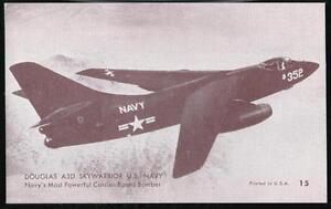 US NAVY DOUGLAS A3D SKYWARRIOR Bomber Aircraft Vintage Arcade Exhibit Card #15
