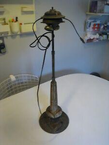 Antique Art Nouveau Cast Iron Electric Lamp Base for Restoration
