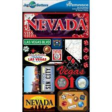 Scrapbooking Crafts Stickers 3D Nevada Las Vegas Sin City Dice Silver State Map